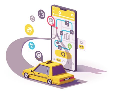 Illustration for Vector taxi mobile app illustration - Royalty Free Image