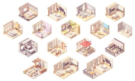 Illustration pour Vector isometric home rooms - image libre de droit