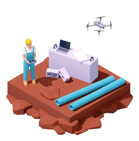 Illustration pour Vector isometric drone survey at construction site - image libre de droit