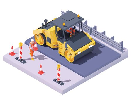 Illustration pour Vector isometric road roller at road construction site. Asphalt paving process, repair and maintenance. Vibration roller and workers building new road, traffic cones and signs - image libre de droit