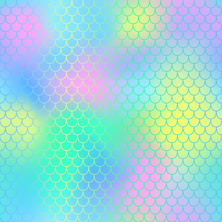 Illustration pour Mermaid seamless pattern vector background. Mermaid tail with fish scale seamless pattern for packaging or surface design. Fantastic marine seamless background for nursery design. Colorful mesh tile - image libre de droit