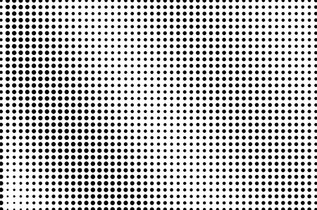 Illustration pour Black and white dotted halftone vector background. Regular halftone pattern. Black dot on transparent overlay. Monochrome dotted illustration. Diagonal halftone gradient. Pop art dotted texture - image libre de droit