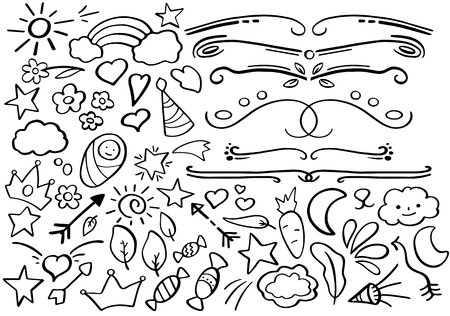 Illustration pour Black and white doodle borders. Handdrawn vector clipart. Funny doodle set in freehand style. Hand-drawn text separator. Journal clip art collection. Outline icon. - image libre de droit