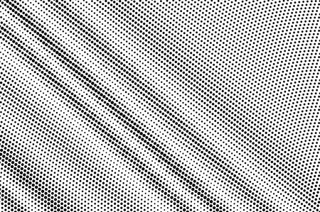 Illustration pour Black on white diagonal halftone texture. Diagonal dotwork gradient. Dotted vector background. Monochrome halftone overlay for vintage cartoon effect. Perforated retro card. Abstract dotwork surface - image libre de droit