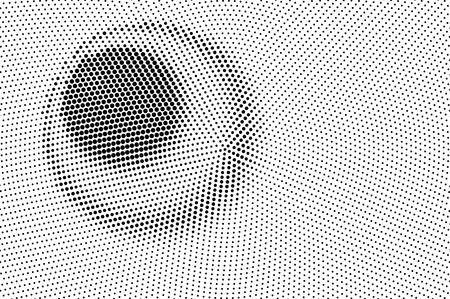 Illustration pour Black on white halftone vector texture. Digital optical illusion. Contrast dotwork gradient for vintage effect. Monochrome halftone overlay. Perforated retro background. Ink dot texture card - image libre de droit