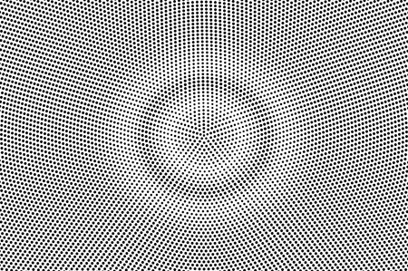 Illustration pour Black on white grunge halftone vector. Digital dotted texture. Round dotwork gradient. Monochrome halftone overlay for cartoon effect. Perforated background in retro style. Ink dotwork surface - image libre de droit