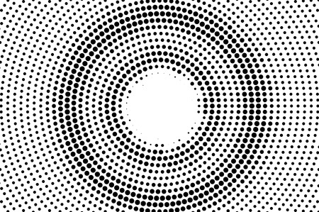 Illustration pour Black on white center halftone vector. Digital dotted texture. Contrast dotwork gradient for vintage effect. Monochrome halftone overlay for cartoon effect. Perforated background. Ink dotwork surface - image libre de droit