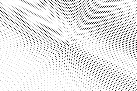 Illustration pour Black on white halftone vector. Circular dotted texture. Diagonal dotwork gradient. Monochrome halftone overlay for cartoon effect. Perforated background in retro style. Abstract dotwork surface - image libre de droit