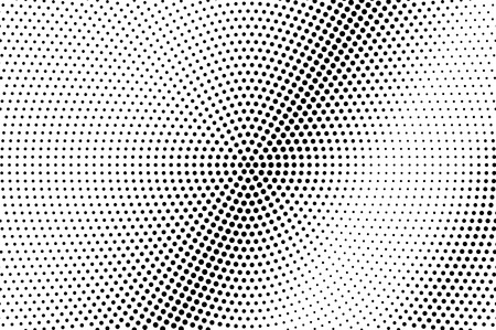 Illustration pour Black and white dotted halftone with diagonal gradient. Circular vector texture. Vintage effect graphic decor. Retro dotted overlay. Monochrome halftone background or foreground. Perforated surface - image libre de droit
