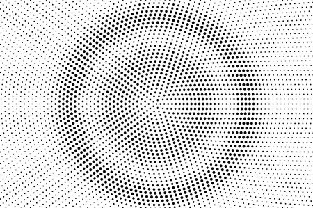 Illustration pour Black and white halftone vector. Round dotted gradient. Concentrated rough dotwork surface. Vintage overlay textured with ink dots. Monochrome halftone background. Perforated texture for retro graphic - image libre de droit
