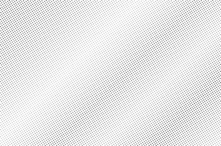 Illustration pour Black and white halftone vector texture. Diagonal dotted gradient. Faded dotwork surface for vintage effect. Monochrome halftone background or overlay. Perforated retro design. Ink dot texture card - image libre de droit