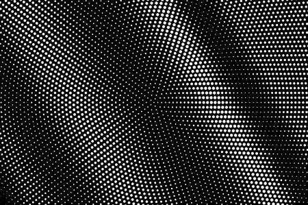Illustration pour White dots on black background. Frequent halftone vector texture. Contrast dotwork gradient for vintage effect. Monochrome halftone overlay. Perforated surface. Pop art style dot texture card - image libre de droit