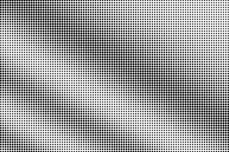 Illustration pour Black on white halftone vector texture. Rough perforated surface. Diagonal dotwork gradient for vintage effect. Digital pop art background. Monochrome halftone overlay. Black ink dot texture card - image libre de droit