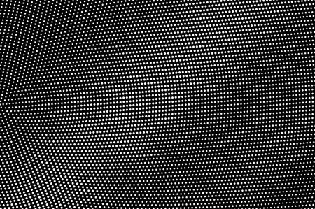 Illustration pour White dots on black background. Radial halftone vector texture. Subtle dotwork gradient. Monochrome halftone overlay for vintage effect. Perforated surface. Pop art style dot texture card - image libre de droit
