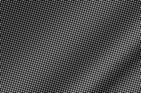 Illustration pour White dots on black background. Regular halftone vector texture. Diagonal dotwork gradient. Monochrome halftone overlay for vintage effect. Perforated surface. Pop art style dot texture card - image libre de droit