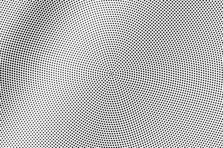 Illustration pour Black on white halftone vector texture. Grunge perforated surface. Circular dotwork gradient. Digital pop art background. Monochrome halftone overlay for vintage effect. Black ink dot cartoon texture - image libre de droit