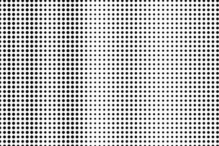 Illustration pour Black on white halftone vector texture. Subtle perforated surface. Vertical dotwork gradient. Digital pop art background. Monochrome halftone overlay for vintage effect. Black ink dot cartoon texture - image libre de droit