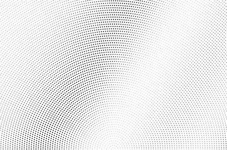 Illustration pour Black dots on white background. Pale perforated surface. Micro halftone vector texture. Diagonal dotwork gradient. Monochrome halftone overlay for vintage design. Pop art style dot texture card - image libre de droit