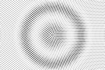 Ilustración de Black and white halftone vector background. Circular dot gradient. Rough dotwork surface. Round dotted halftone. Retro halftone overlay. Vintage distressed effect. Monochrome perforated texture - Imagen libre de derechos