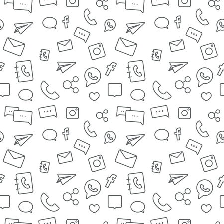 Ilustración de Seamless sosial life icons pattern grey on white background - Imagen libre de derechos