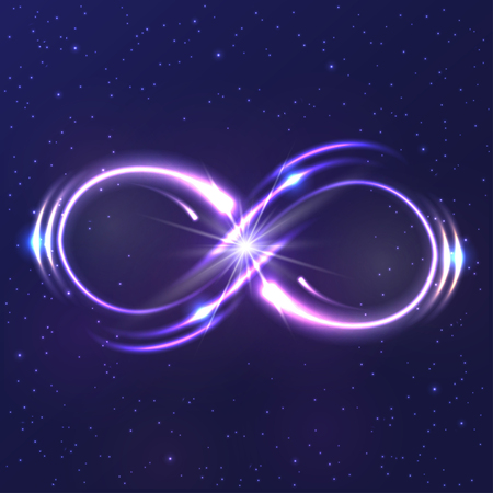 Illustration pour Neon light infinity symbol - image libre de droit