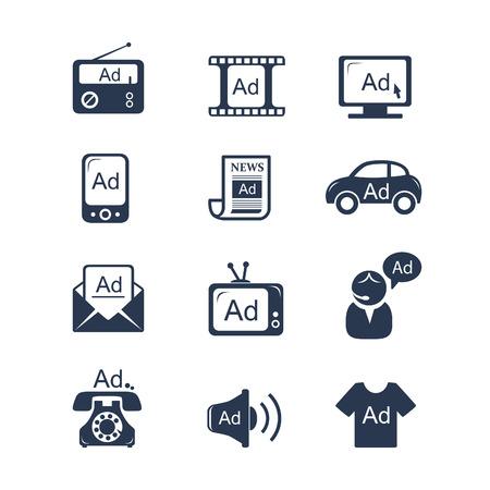 Ilustración de Advertisement icons set - Imagen libre de derechos