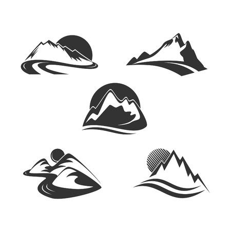 Illustration pour Mountain icons set - image libre de droit