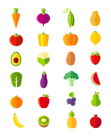 Foto für Organic fruits and vegetables flat style icons set - Lizenzfreies Bild