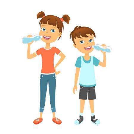 Ilustración de Happy children drinking water. Kids drink water - Imagen libre de derechos