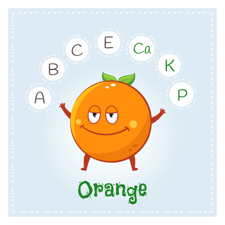 Ilustración de Orange fruit vitamins and minerals. Funny fruit character. Healthy food illustration - Imagen libre de derechos