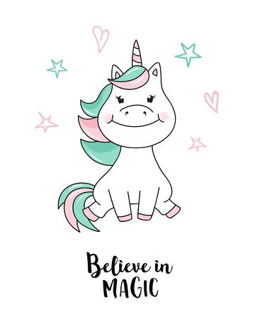 Illustration for Unicorn believe in magic. Vector unicorn quote illustration - Royalty Free Image