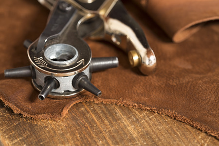 Leather craft punch on a piece of leather