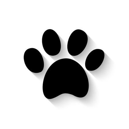 Ilustración de paw print icon with shadow isolated on white background - Imagen libre de derechos