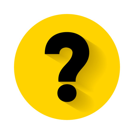 Illustration pour Question mark with shadow isolated on yellow background - image libre de droit