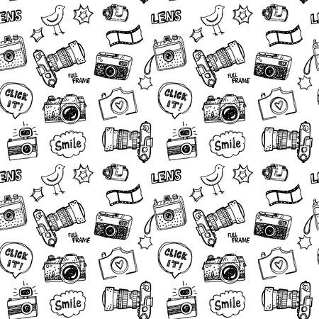 Illustration pour Hand drawn illustration set of photography sign and symbol doodles elements. - image libre de droit