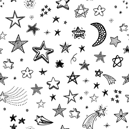 Illustration pour Hand drawn seamless pattern with doodle stars - image libre de droit