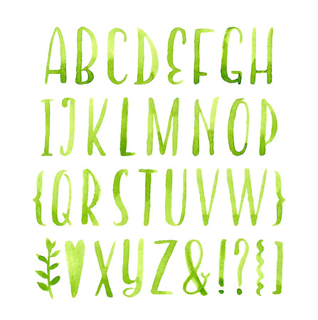 Illustration for Hand drawn calligraphic green watercolor font. - Royalty Free Image
