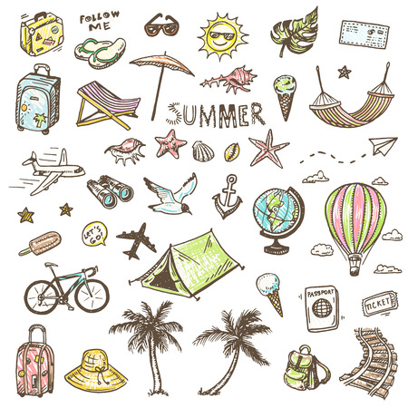 Illustration pour Hand drawn summer time icons set - image libre de droit
