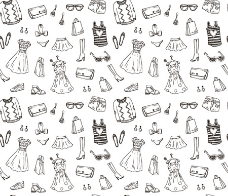 Illustration pour Women clothes and accessories, hand drawn doodle seamless pattern - image libre de droit
