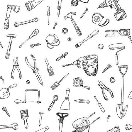 Illustration pour Hand drawn seamless pattern of tools sign and symbol doodles elements. - image libre de droit