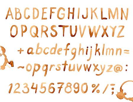 Ilustración de Creative hand drawn coffee stains font - Imagen libre de derechos