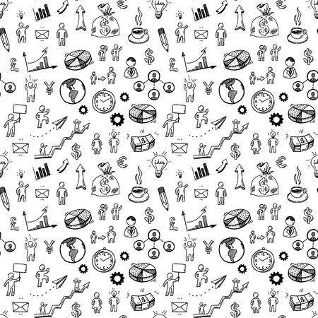 Illustration pour Hand drawn business doodle icons seamless pattern. - image libre de droit
