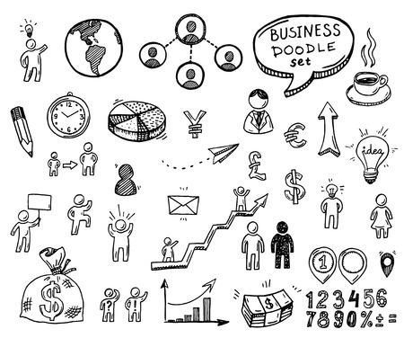 Illustration pour Hand drawn doodle business icons set. - image libre de droit