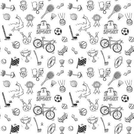 Ilustración de Hand drawn doodle sport seamless patter - Imagen libre de derechos
