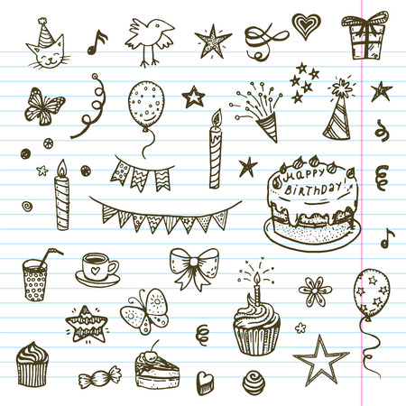 Illustration for Birhday elements. Hand drawn set with birthday cake, baloons, gift and festive attributes. Children drawing doodle collection. - Royalty Free Image