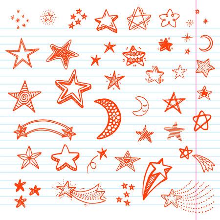 Illustration pour Hand drawn doodle stars set - image libre de droit