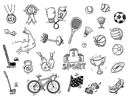 Illustration pour Hand drawn sport doodle set - image libre de droit