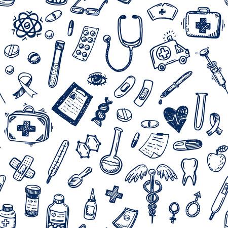 Illustration pour Hand drawn seamless medicine and healthcare background - image libre de droit