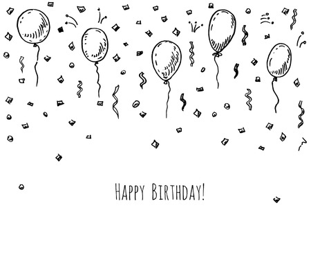 Illustration pour Hand drawn party background with balloons and confetti. - image libre de droit