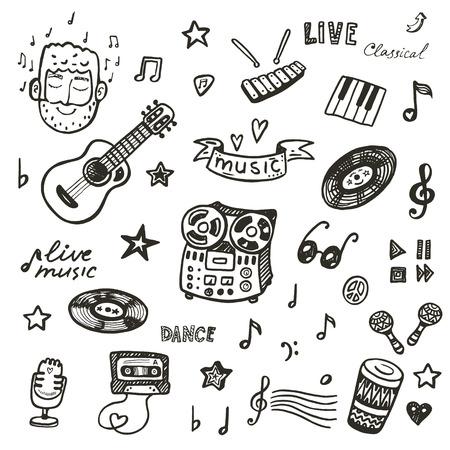 Illustration pour Hand drawn musical instruments collection. Music set. - image libre de droit
